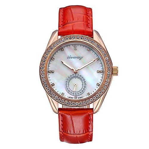 baogela Damen Roes Gold Wasserdicht Handgelenk Uhren mit Edelstahl Fall Zifferblatt Luxus akzentuierten Kleid bequem rot Leder Guertel