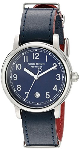 Brooks Brothers rot Fleece Unisex silgh002 rot Fleece Analog Display Japanische Quarz blau Armbanduhr