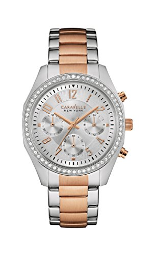 Caravelle New York 45l148 Melissa Damen Armbanduhr Quarz Chronograph Zifferblatt Silber Armband Stahl vergoldet mehrfarbig