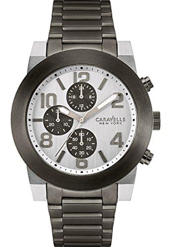 Caravelle New York Herren Armbanduhr Analog Quarz One Size silber schwarz