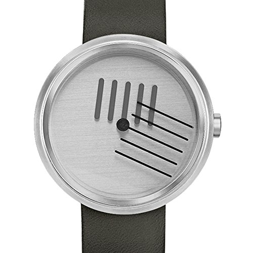 Projects Watches On The Right Track Quarz Edelstahl Silber Leder Schwarz Uhr Unisex