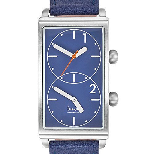 Projects Watches Michael Graves Grand Tour Blue Quarz Dual Time Edelstahl Blau Leder Uhr Herren