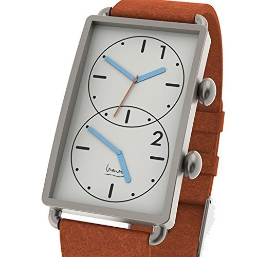 Projects Watches Michael Graves Grand Tour Dual Time Edelstahl Weiss Orange Leder Uhr Herren
