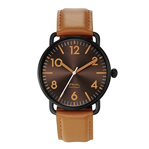 Projects Watches Michael Graves Witherspoon Black Tan Quarz Edelstahl IP Schwarz Matte Leder Braun Uhr Herren