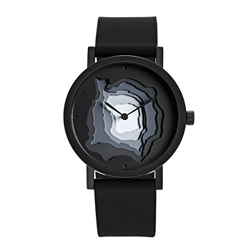 Projects Watches SITE Terra Time Black Quarz Edelstahl IP Schwarz Grau Silikon Unisex Uhr