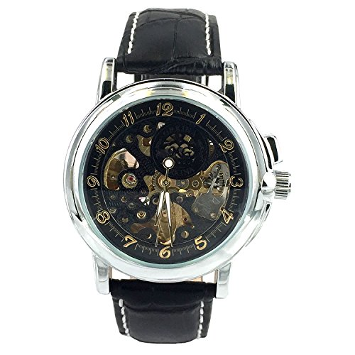 Chronomart Armbanduhr Skelettuhr mechanisches Automatikuhrwerk Lederarmband Schwarz