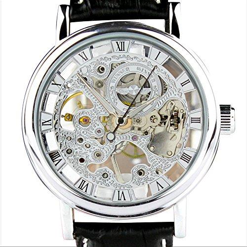 Chronomart Herren Silber Edelstahl Gehaeuse Skeleton Vorwahlknopf mechanische Hand Wind Luxury schwarzes Lederband Armbanduhr