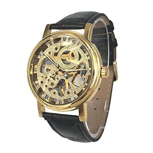 Chronomart Herren goldene Farbe Edelstahl Gehaeuse Skeleton Vorwahlknopf mechanische Hand Wind Luxury schwarzes Lederarmband Uhr