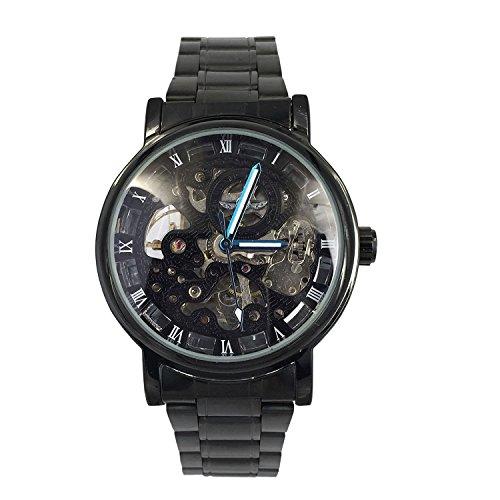 Chronomart Herren schwarz Edelstahlgehaeuse Skeleton Vorwahlknopf automatische mechanische Stahl Buegel Armbanduhr