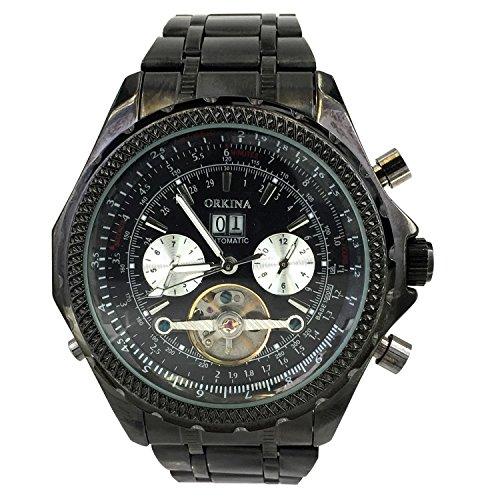 Chronomart 6 Zeiger Edelstahl mechanisches Uhrwerk schwarzes ORK 0041