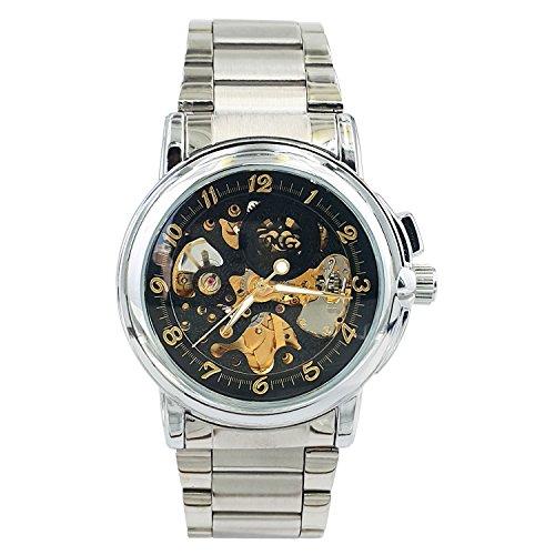 Chronomart Herrenarmbanduhr Skeleton Uhren Stil Edelstahl Automatikwerk ORK 0012