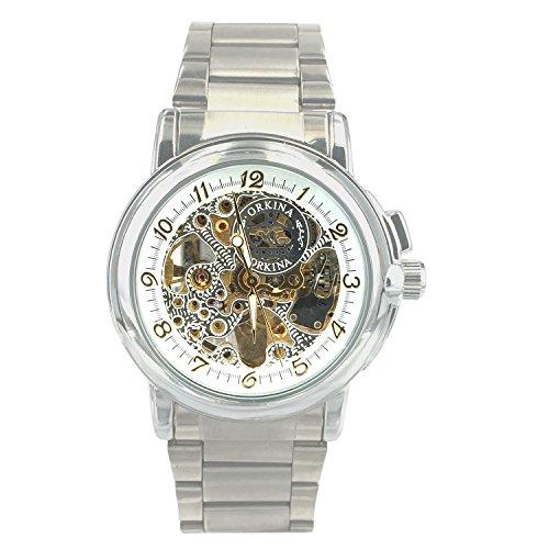 Chronomart Herrenarmbanduhr Skeleton Uhren Stil Edelstahl Automatikwerk ORK 0011