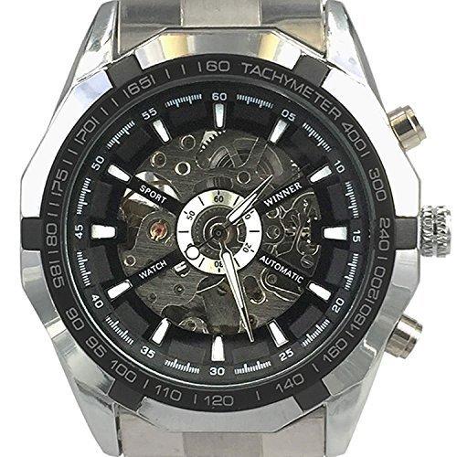 Chronomart Herrenmode Automatik Uhr Skelett Edelstahl Armbanduhr WIN K0008