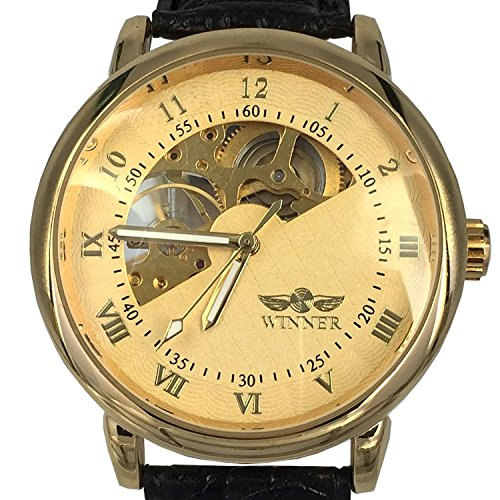 Chronomart Herren mechanische Uhr Goldgehaeuse Lederband Herrenuhr WIN K0030