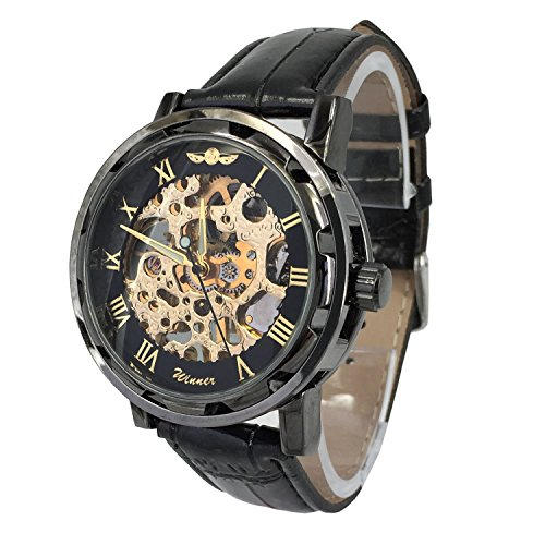 Chronomart Maenner schwarze Farbe Edelstahl Gehaeuse Skeleton Vorwahlknopf Hand Wind Mechanische Fashion schwarzes Lederband Armbanduhr WIN K0022