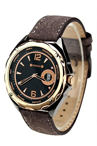 City Rose Gold Fall Schwarz Zifferblatt Japan Quarz Seude Lederband Herren Business Armbanduhr