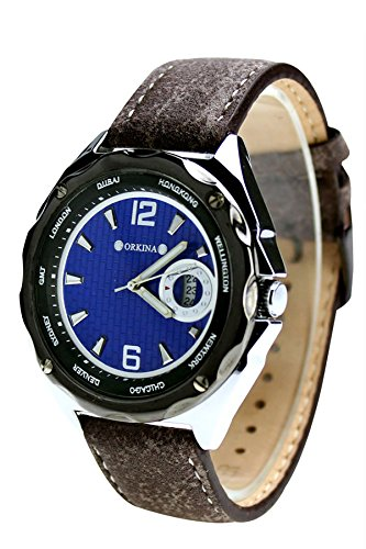 City schwarz Fall Blau Zifferblatt Japan Quarz Seude Lederband Herren Fashion Armbanduhr