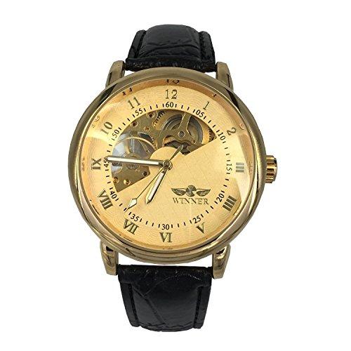 City Gold Farbe Semi Skelett Zifferblatt mechanisch aufziehbar Bewegung Lederband Armbanduhr