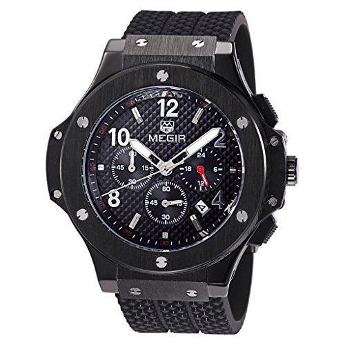 Megir Herren Schwarz Rose Gold Silikon Armbanduhr Leuchtzeiger Chronograph Militaer Sportuhren stylische Analog Quarzuhren