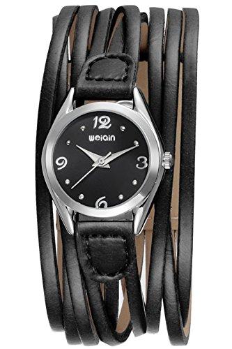 Findtime Schwarz Damenuhr Leder Armbanduhr Design Vintage Retro stylische Damenarmbanduhr trend Spangenuhr Analog Quarzwerk Wickelarmband