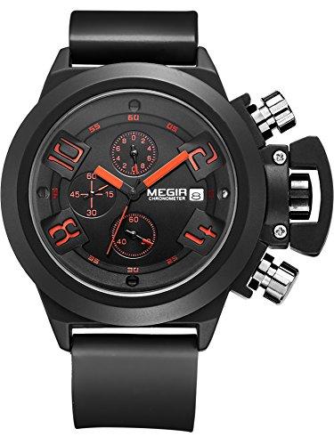 Megir Sport Outdoor Chronograph Kalender Quarz Schwarz weiss Silikon Armbanduhr Datum Analog Anazeig Quarzuhr 3ATM wasserdicht