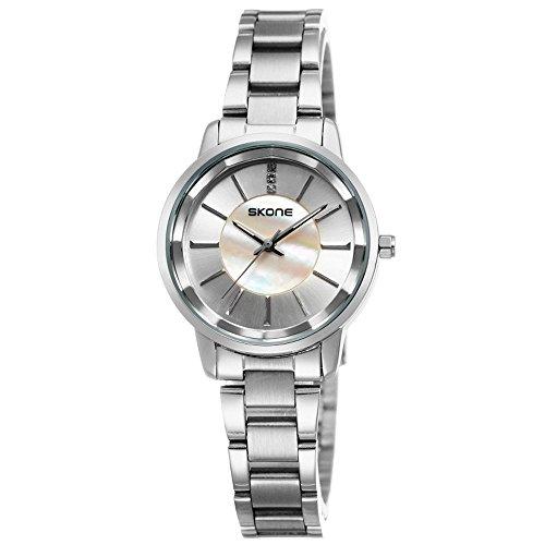 Skone Edelstahl Silber Blue Rosa Brown Armbanduhr klassische einfache Design Strass Schmuck Elegant Analog Quarzuhr