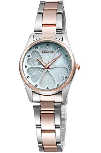 Skone Damenuhr Rosegold Silber Edelstahl Blume Strass lieb elegante schoene Analog Quarzuhr Armbanduhren