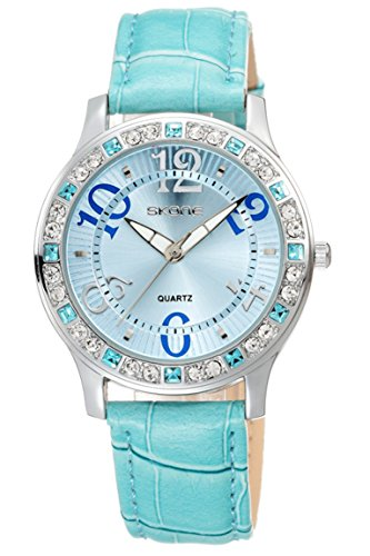 Skone Schmuck Geschenk schoene Uhr fuer Maedchen Leder Armbanduhren Blau Rosa Rot Weiss Analog Quarzuhr