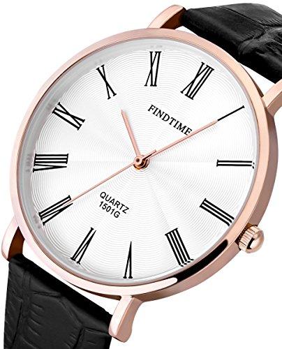 Findtime Rosegold Klassische Elegant Leder Armbanduhren Ultra duenner Analog Quarzuhr