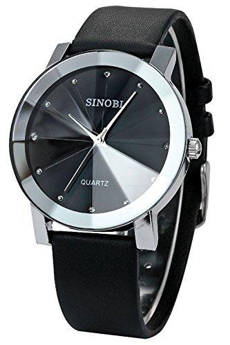 findtime SINOBI Herren Schwarz Lederband Quarz Handgelenk Uhren