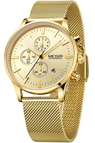 Megir Herren Elegant Schwarz Gold Silber Casual Luxury Chronograph Sport stylische Analog Quarz Marken Uhr