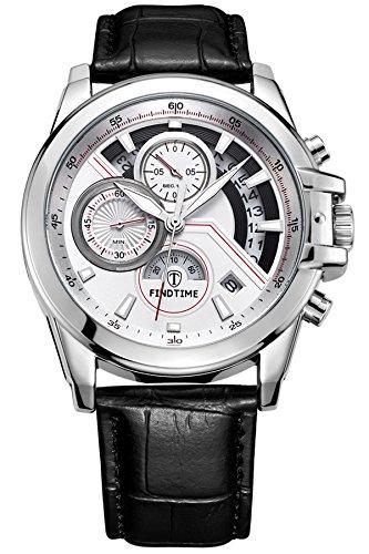 Findtime Chronograph Skelett Design Stoppuhr Sportuhren Outdoor Schwarz Leder Armbanduhr modisch Leuchtzeiger Kalender Analog Militaer Quarzuhr