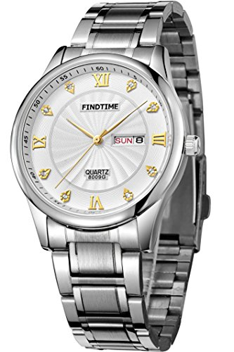 Gold Sport Outdoor Edelstahlarmband Luxus Design Business Kalender Anzeig Quarz Marken Uhren Schwarz Weiss klassische Uhr Findtime