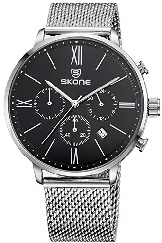 Edelstahl Armbanduhren Silber Schwarz mit einfache Zifferbaltt und Chronograph Kalender Multifunktion Stilvolle Eleganz Business Fashion Analog Anzeig Quarzuhr Findtime