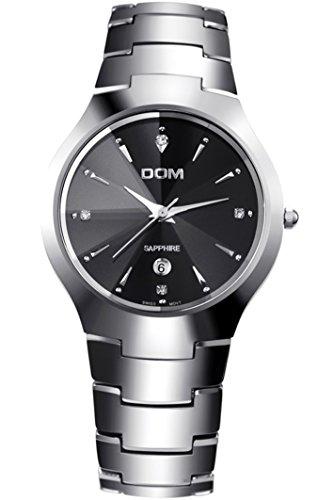 DOM Herren Silber Uhr mit sehr Kleiner Zifferblatt Wolframcarbid Luxus Edel Narken Quarz Partner Armbanduhren