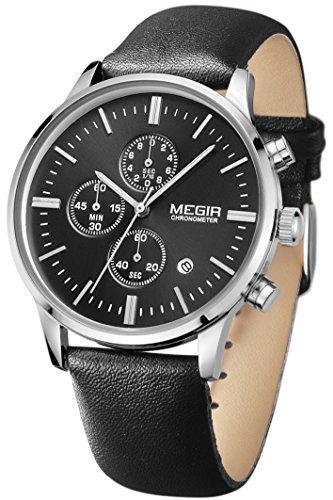 Megir Lederarmband Uhr Chronograph Herren Analog Quarzuhr klassische Herrenuhr Schwarz Zifferblatt Uhr