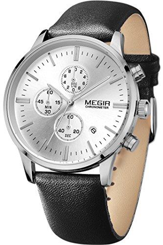 Megir Lederarmband Uhr Chronograph Herren Analog Quarzuhr klassische Schwarz Zifferblatt silberne Uhr