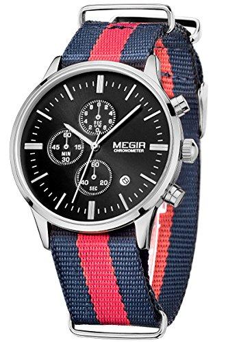 Megir Herren Sport Out Fashion Uhr Rot Blau Rot Textil Uhrenarmband Chronograph leuchtende Armbanduhren Marken Analog Quarzuhr