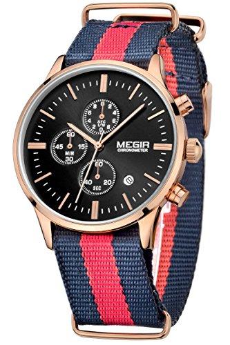 Megir Herren Sport Out Fashion Uhr Blau Rot Blau Textil Uhrenarmband Chronograph leuchtende Armbanduhren Gold Marken Analog Quarzuhr