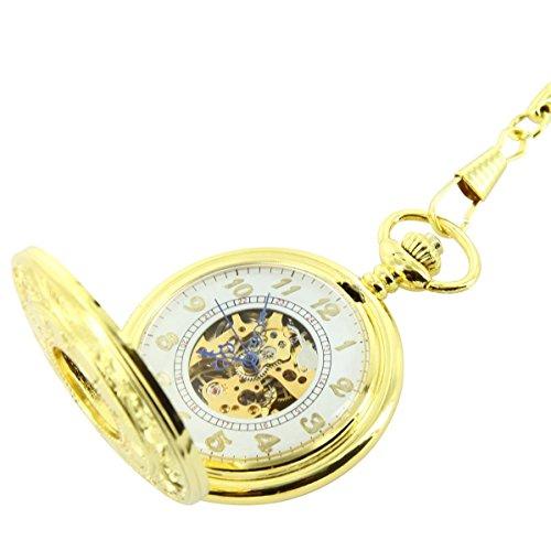 Taschenuhr Belle Taschenuhr Mechanische Herren Stahl Gold XXL 267