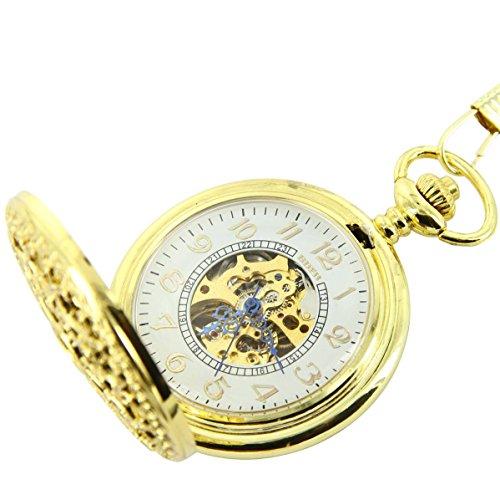 Taschenuhr Herrenuhr Jolie Taschenuhr Mechanische Herren Stahl Gold XXL 2657