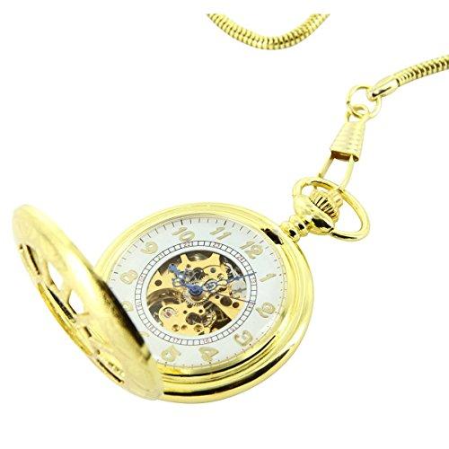 Taschenuhr Herrenuhr Taschenuhr Klassische Mechanische Herren Stahl Gold XXL 2664