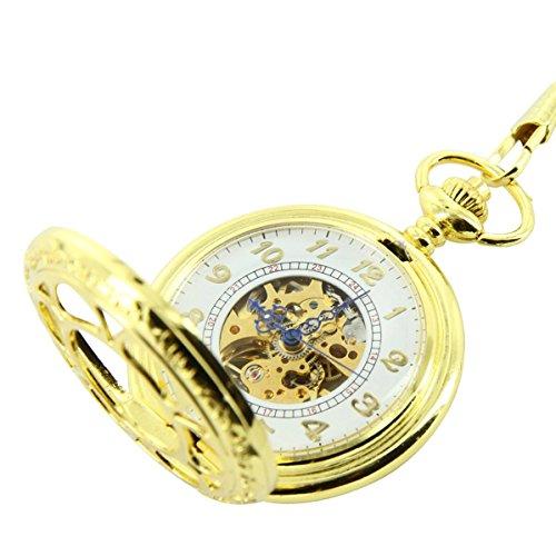 Taschenuhr Herrenuhr Taschenuhr Mechanische Herren mit Stahl Gold XXL 2652