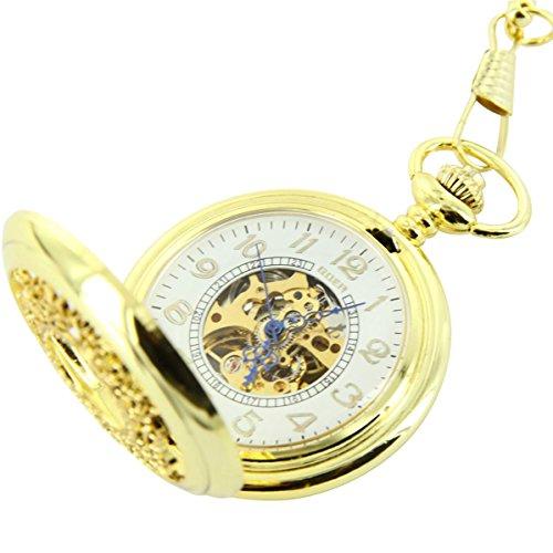 Taschenuhr Herrenuhr Taschenuhr Mechanische Herren Stahl Gold XXL 2650