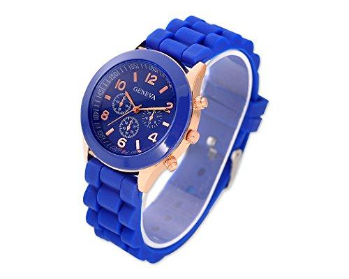 Geneva Quarz Analoge Armbanduhr mit Gelee Silikon Wasserdicht Armband Blau