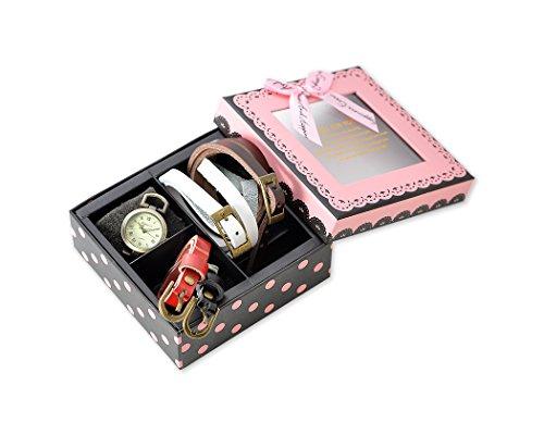 Damen Armbanduhr Geschenkbox Set mit 4 Austauschbare Uhr Lederbaender Bronze