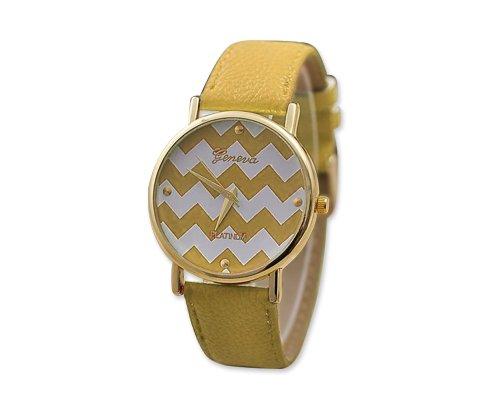Geneva Armbanduhr Damenuhr PU Lederarmband Maedchen Damen Gelb