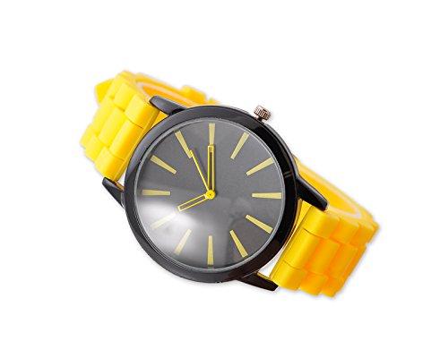 Geneva Unisex Silikon Liebhaber Armbanduhren Analoges Maenner Quarzuhr Vatertag Geschenkuhr Modeuhr Gelb