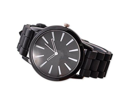 Geneva Unisex Silikon Liebhaber Armbanduhren Analoges Maenner Quarzuhr Vatertag Geschenkuhr Modeuhr Schwarz