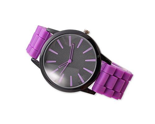 Geneva Unisex Silikon Liebhaber Armbanduhren Analoges Maenner Quarzuhr Vatertag Geschenkuhr Modeuhr Lila